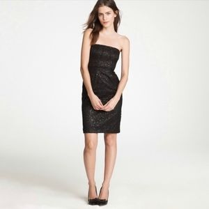 J. Crew Tinsel lace black strapless dress cocktail